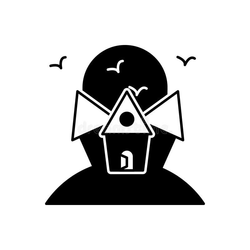 Schwarze feste Ikone für furchtsames Haus, frequentiert und gruselig stock abbildung
