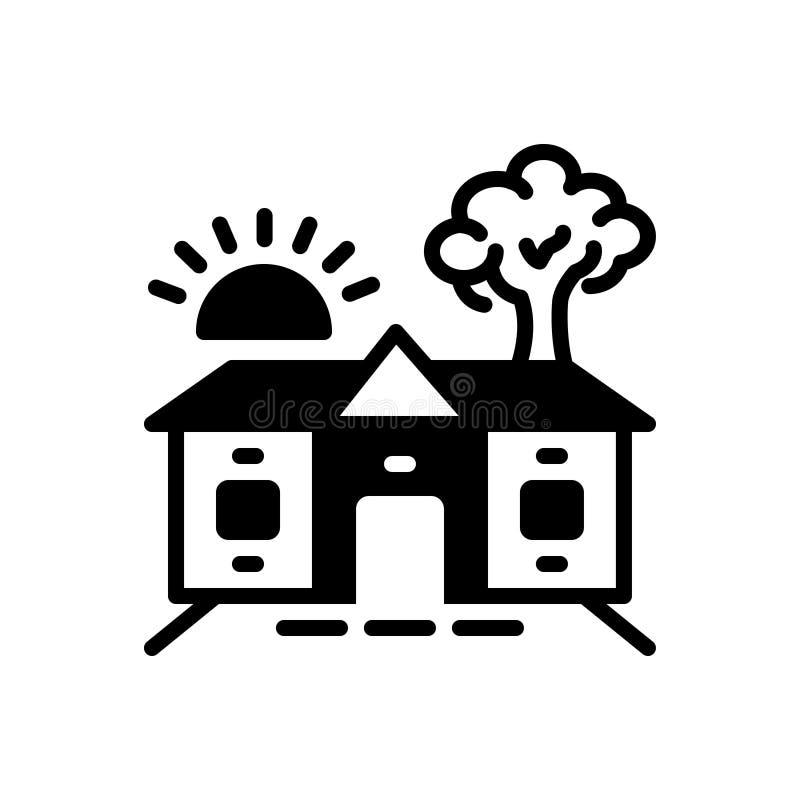 Schwarze feste Ikone für Gehöft, Barton und Eigentum stock abbildung