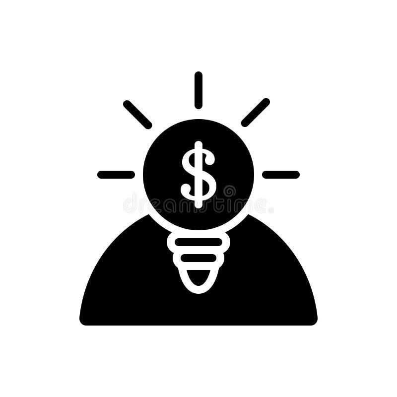 Schwarze feste Ikone f?r Gelegenheiten, Karriere und Finanzierung lizenzfreie abbildung