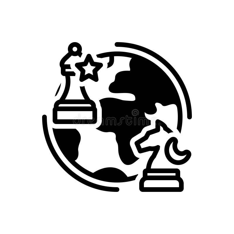 Schwarze feste Ikone für Geopolitik, Schach und Kugel lizenzfreie abbildung