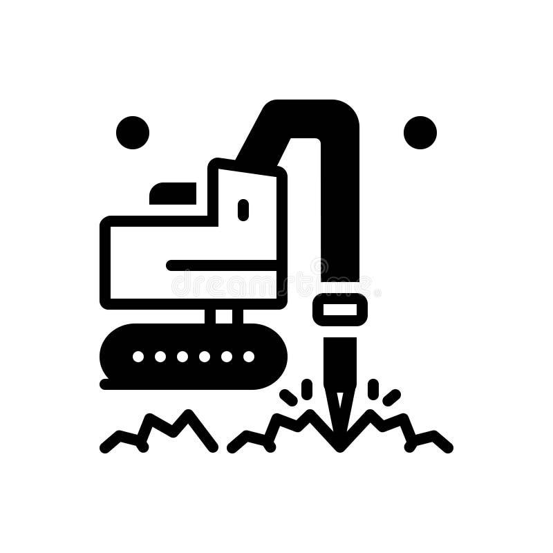 Schwarze feste Ikone für Geotechnic, geotechnisch und die Bohrung stock abbildung