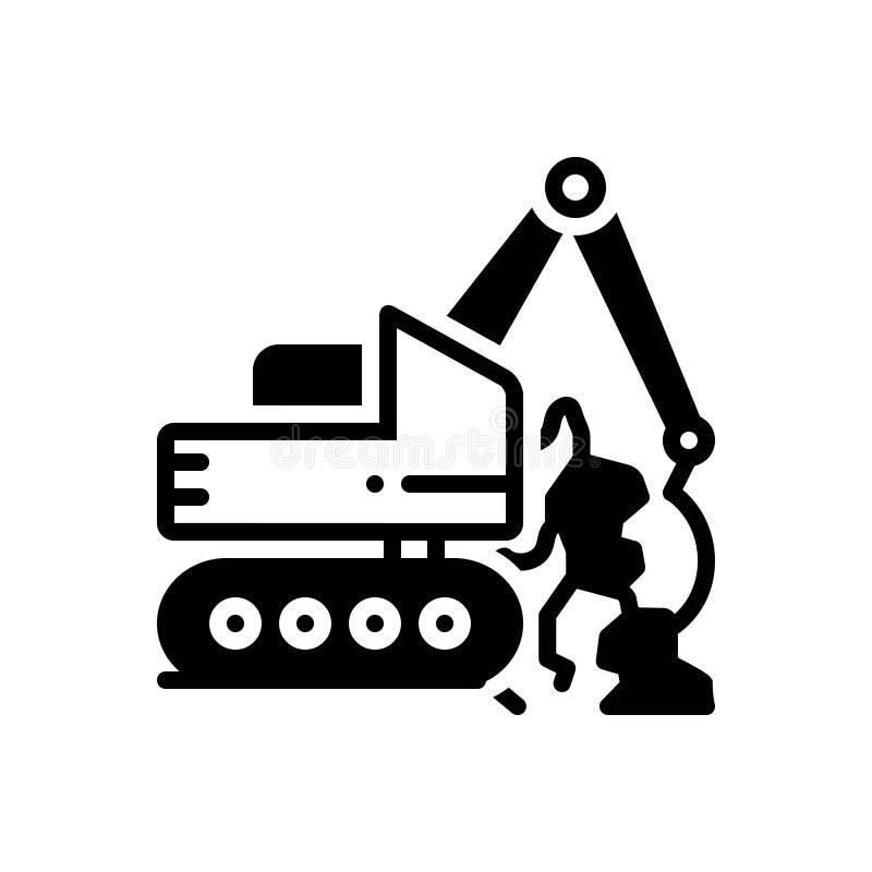 Schwarze feste Ikone für Geotechnics, geotechnisch und die Bohrung vektor abbildung