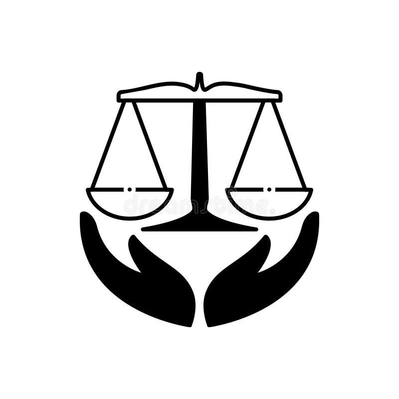 Schwarze feste Ikone f?r Gesetzesversicherung, Gesetz, Gerechtigkeit und Sicherheit lizenzfreie abbildung