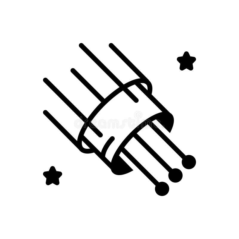 Schwarze feste Ikone für Glasfaser-, Kabel und Breitband stock abbildung