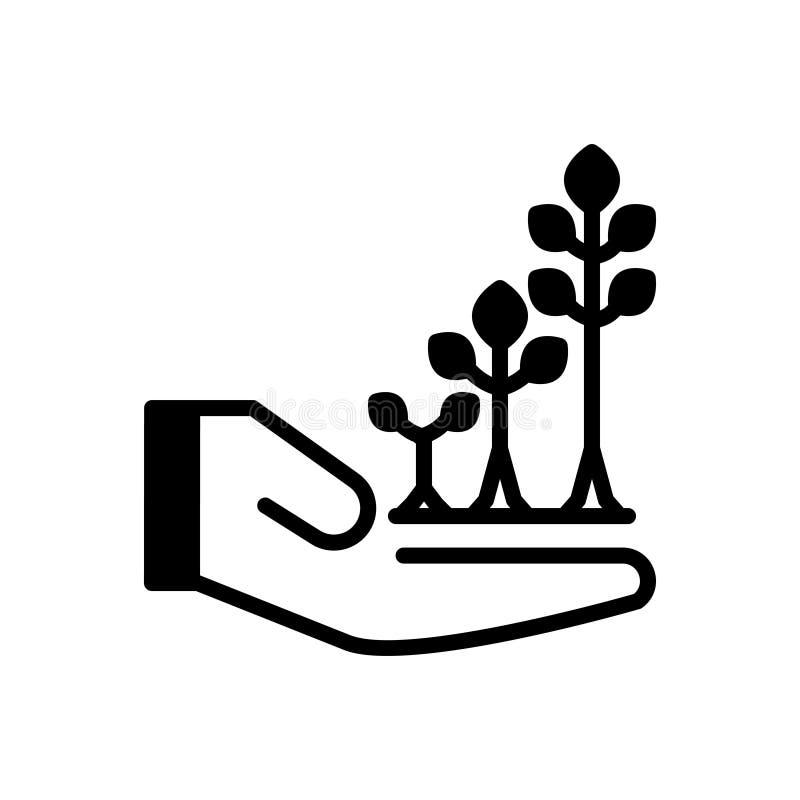 Schwarze feste Ikone für Grow, schnellen empor und fahren fort lizenzfreie abbildung