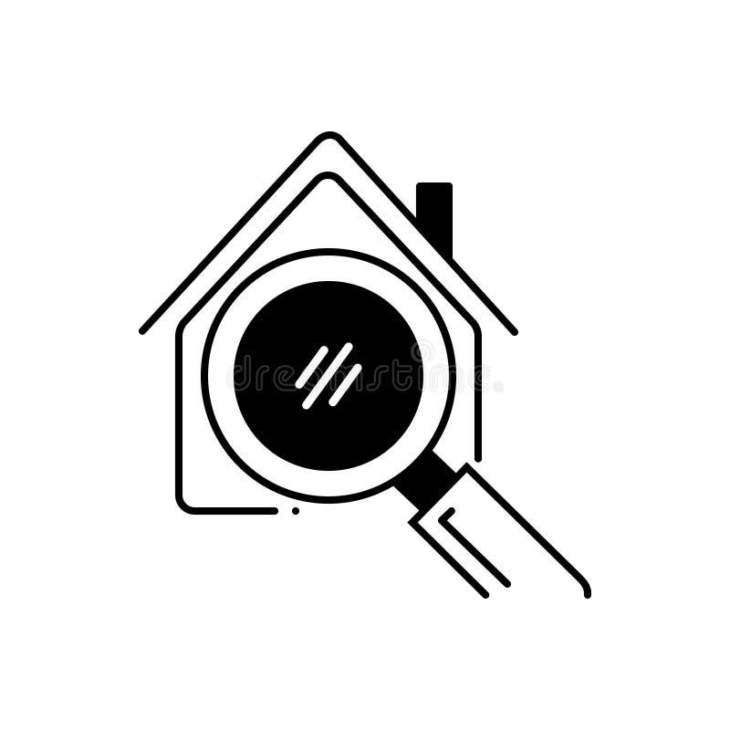 Schwarze feste Ikone für Hauptsuche, Eigentum und Suche lizenzfreie abbildung