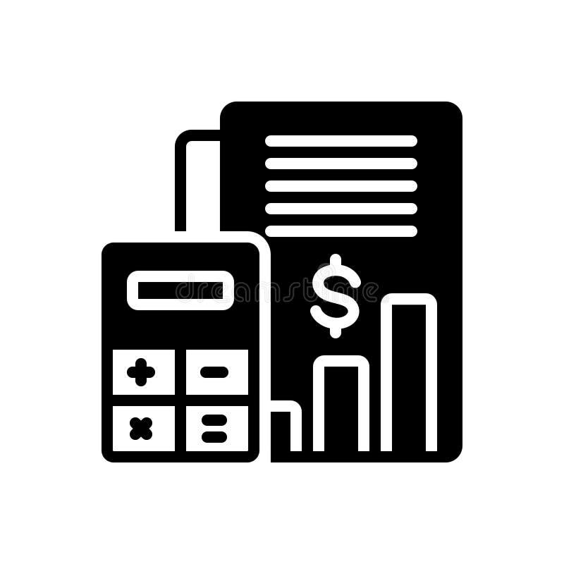 Schwarze feste Ikone für Haushaltsrechnung, Bank und Geld stock abbildung