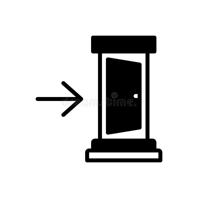 Schwarze feste Ikone für herein, innen und nach innen lizenzfreie abbildung