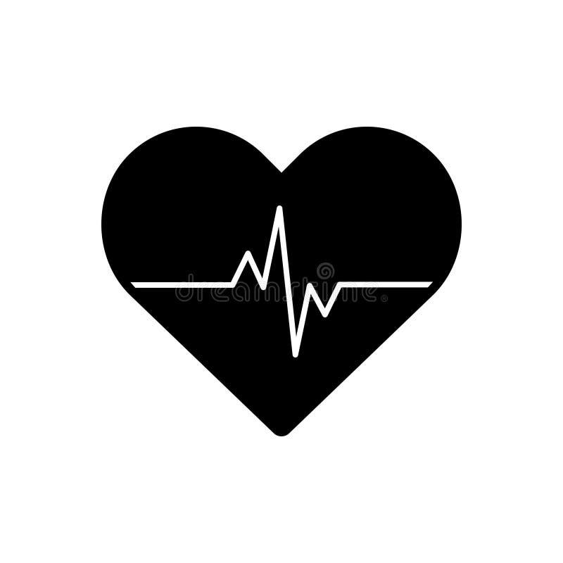 Schwarze feste Ikone f?r Herzimpuls, -kardiologie und -herz stock abbildung
