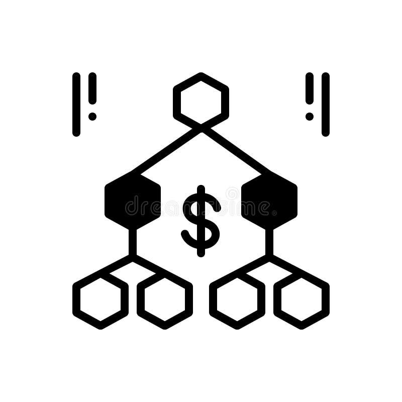Schwarze feste Ikone für Hierarchie, Reihenfolge und Organisation lizenzfreie abbildung