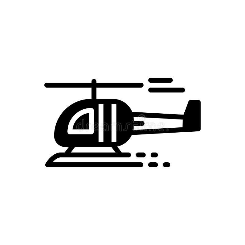 Schwarze feste Ikone für Hubschrauber, Jet und Fliege vektor abbildung