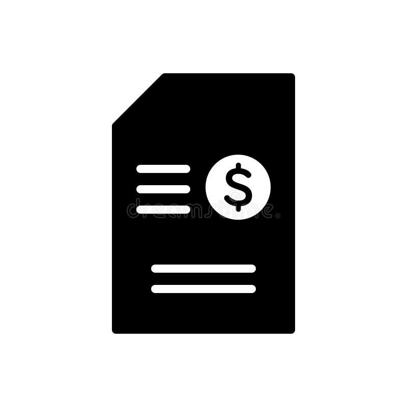 Schwarze feste Ikone für Inhalt, Ausmünzung und Angelegenheit vektor abbildung