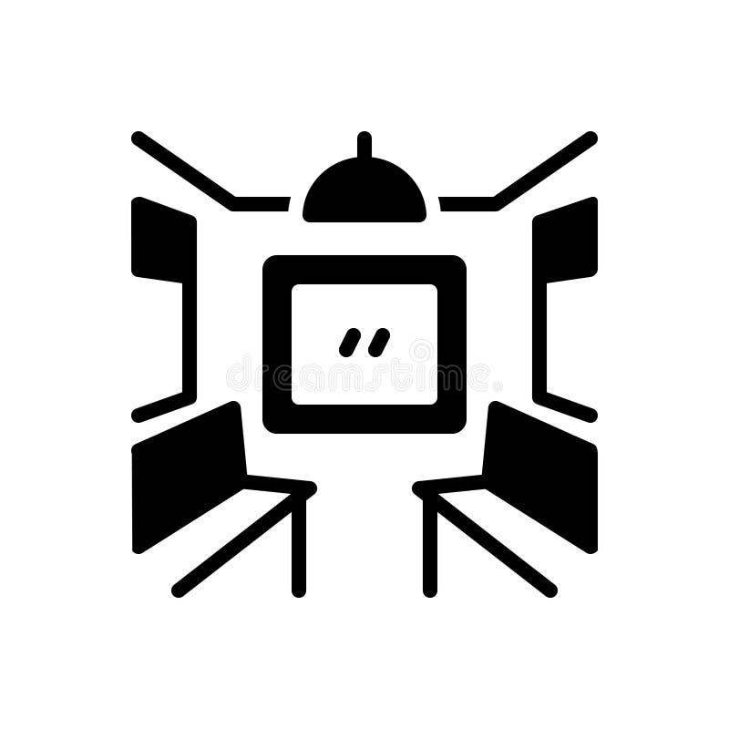 Schwarze feste Ikone für inneren Trainer, Sitz und das Reisen lizenzfreie abbildung