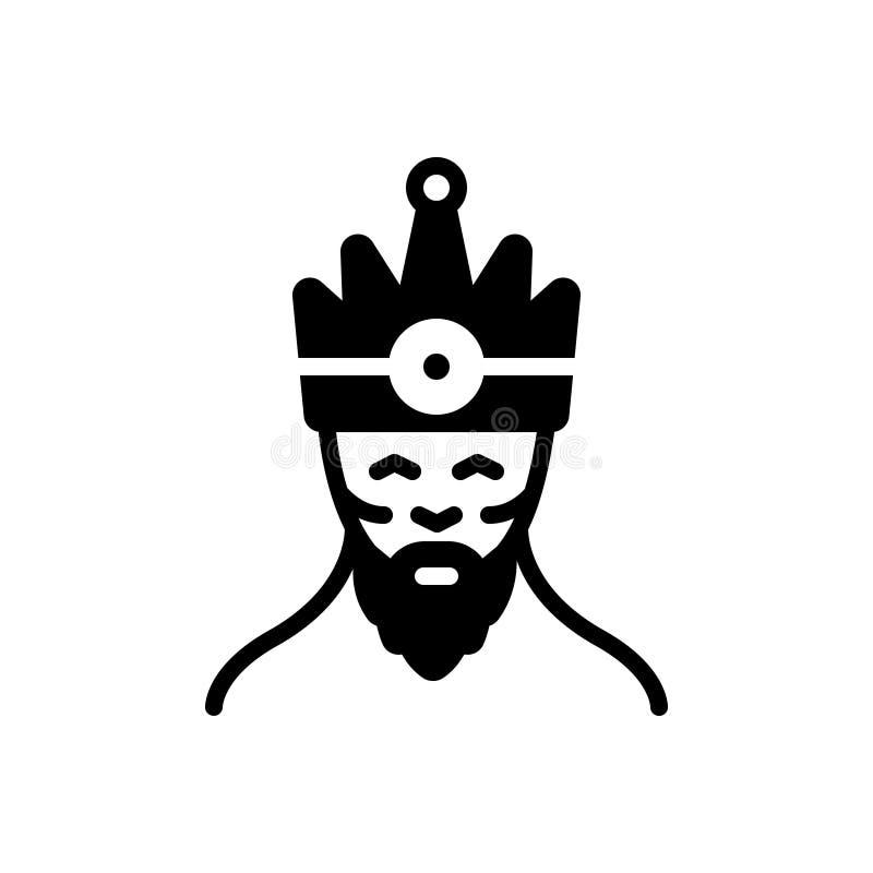 Schwarze feste Ikone für König, Monarchen und Machthaber lizenzfreie abbildung