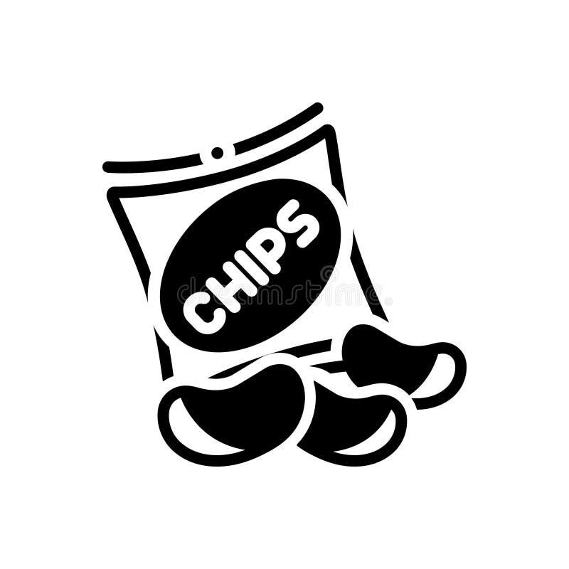 Schwarze feste Ikone f?r Kartoffelchips, Nahrung, gebraten und klar stock abbildung