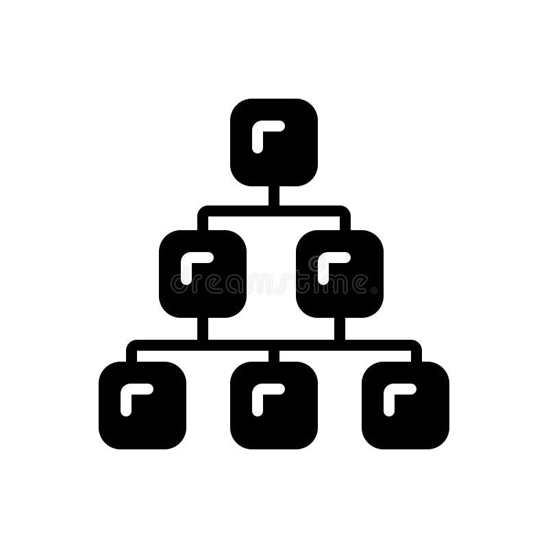 Schwarze feste Ikone für Kategorie, Strecke und Reihe stock abbildung