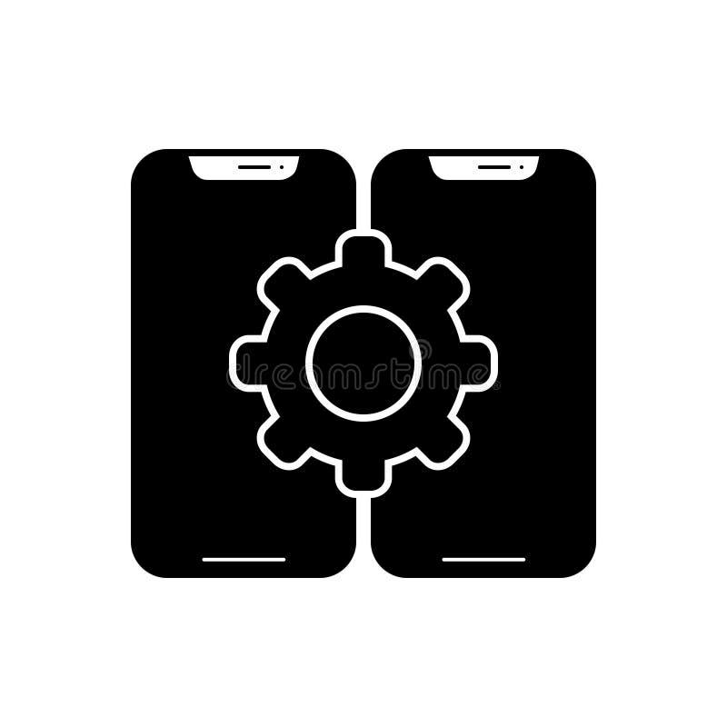 Schwarze feste Ikone für Konfiguration, Zusammenstellung und Smartphone lizenzfreie abbildung