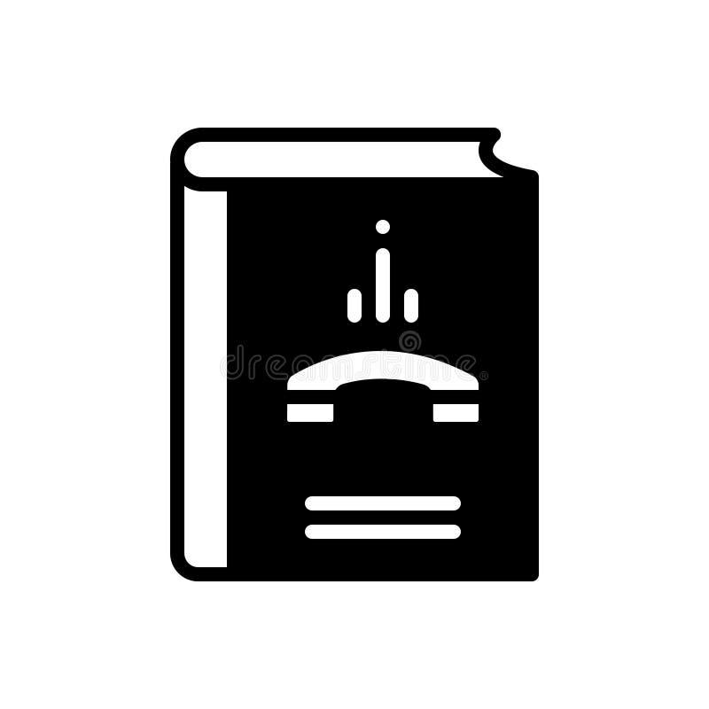 Schwarze feste Ikone für Kontaktbuch, -telefon und -kommunikation lizenzfreie abbildung