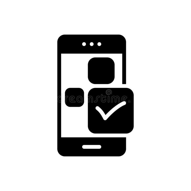 Schwarze feste Ikone f?r Kontrolleapp, Anwendung und genehmigen stock abbildung