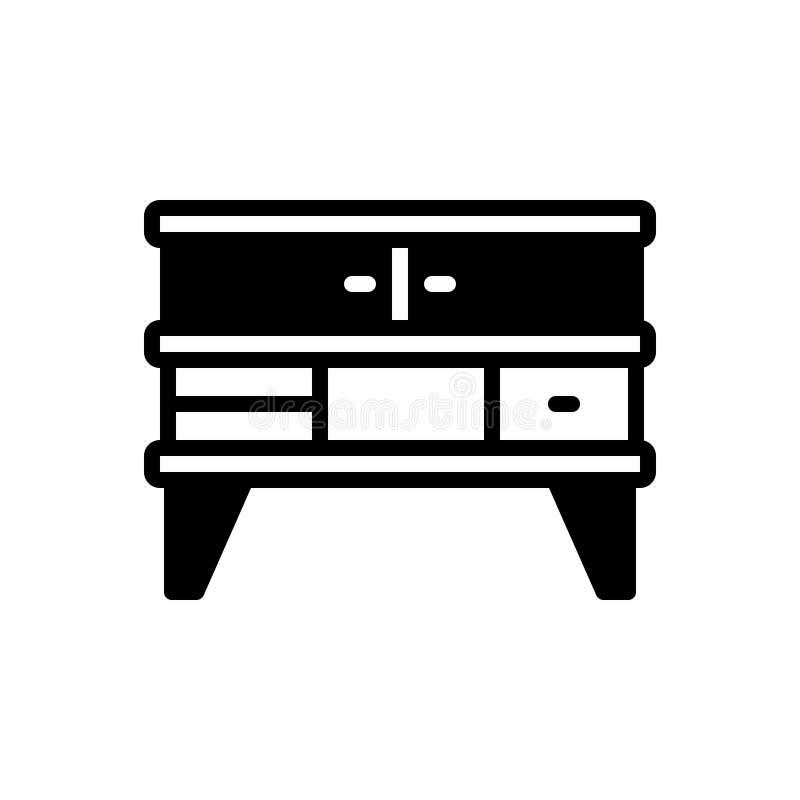 Schwarze feste Ikone für Möbel, Schrank und Kabinett lizenzfreie abbildung