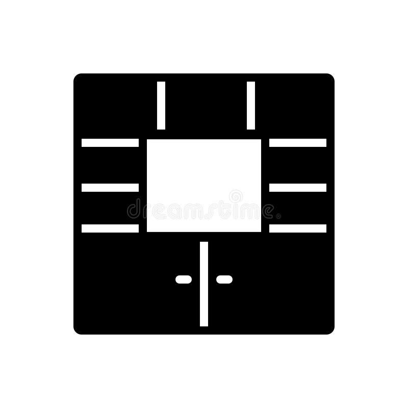 Schwarze feste Ikone für Möbel, Schrank und Kabinett stock abbildung