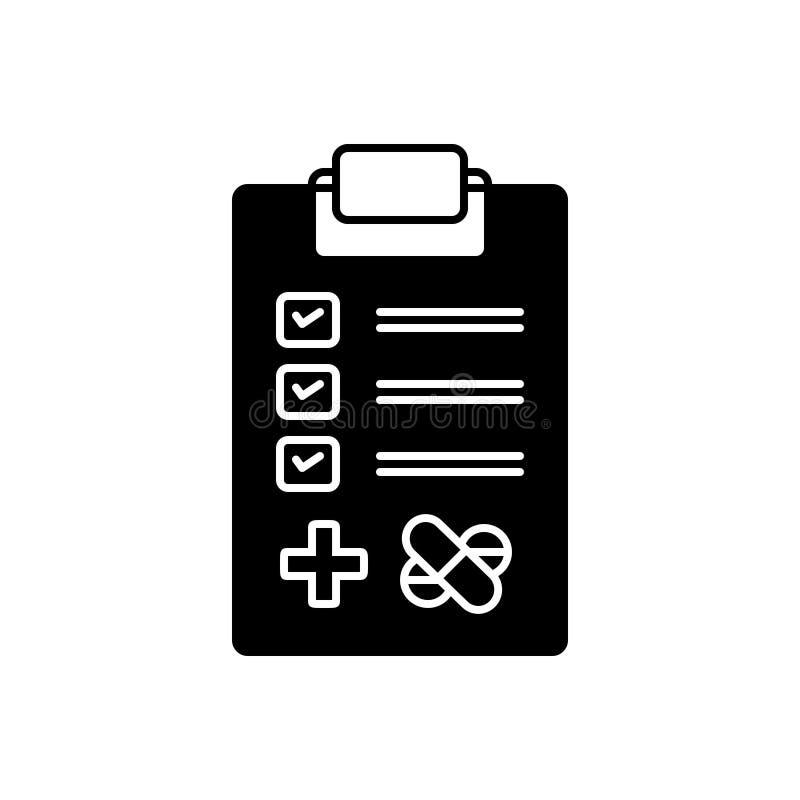 Schwarze feste Ikone für medizinische Tests, Untersuchung und Forschung lizenzfreie abbildung