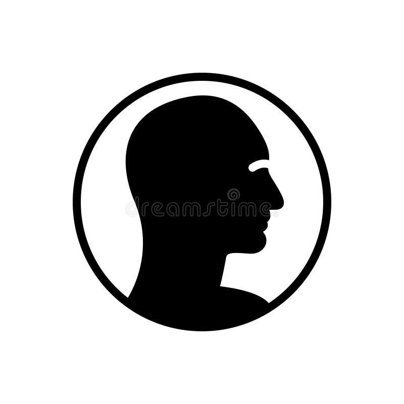 Schwarze feste Ikone für menschliches Profil, Kunden und Benutzer lizenzfreie abbildung
