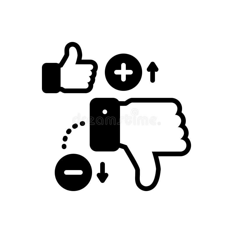 Schwarze feste Ikone für Nachteile, verschieden und Daumen lizenzfreie abbildung