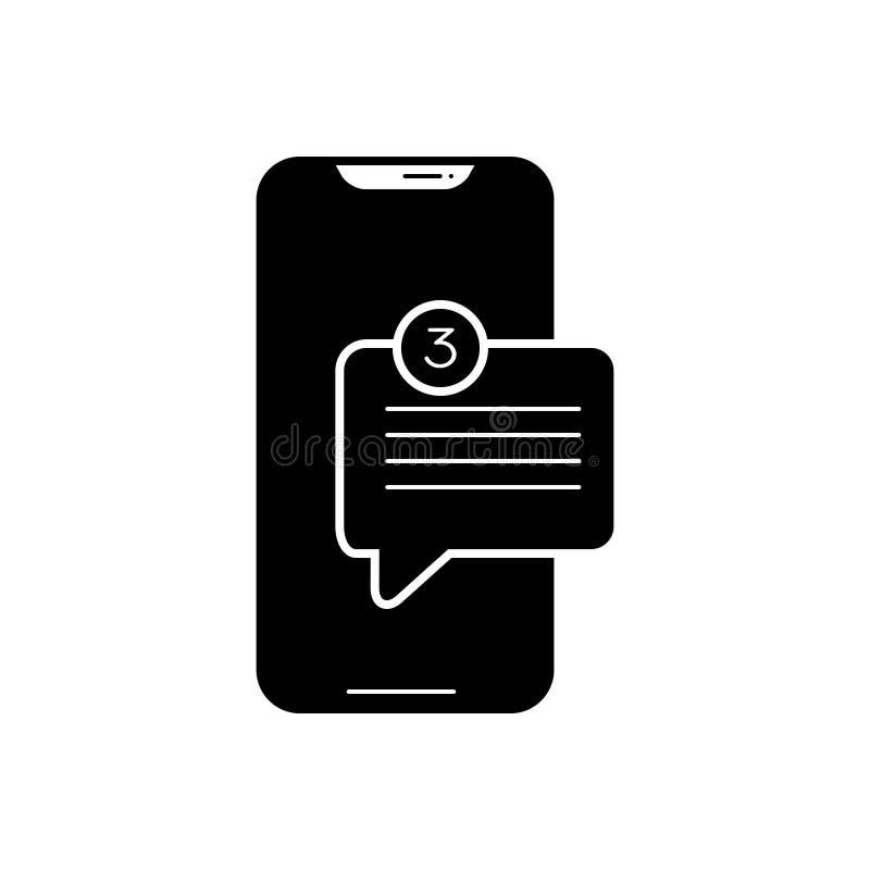 Schwarze feste Ikone für neue Mitteilungen App, Smartphone und Kommunikation stock abbildung