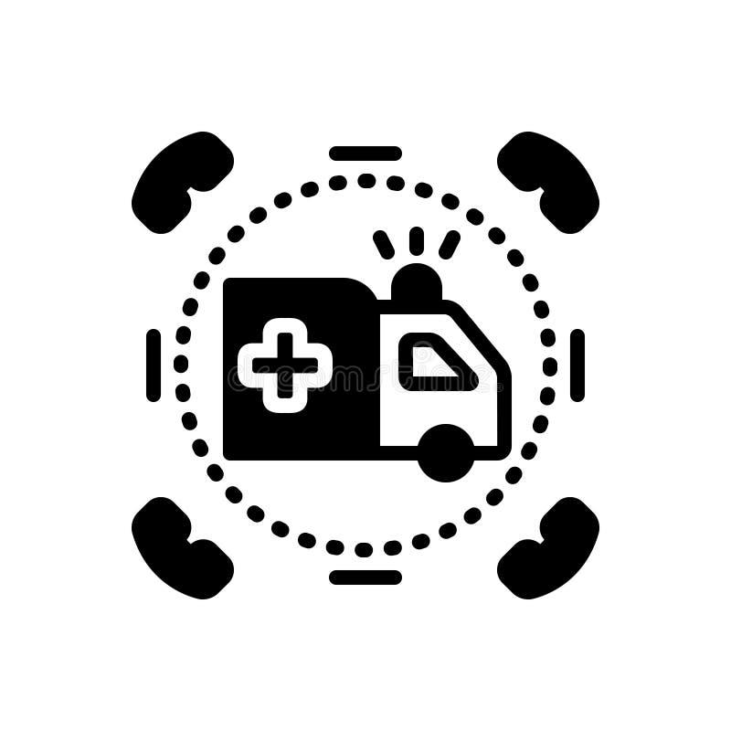 Schwarze feste Ikone für Not-, medizinisch und Rettung lizenzfreie abbildung