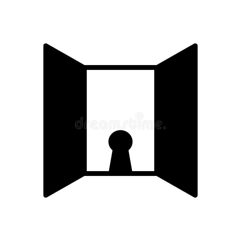 Schwarze feste Ikone für Offenheit, Tür und Eingang lizenzfreie abbildung