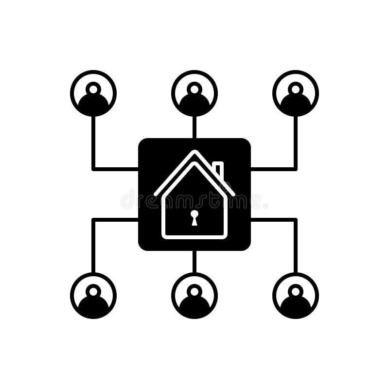 Schwarze feste Ikone f?r Organisation, Inventar und Haus vektor abbildung