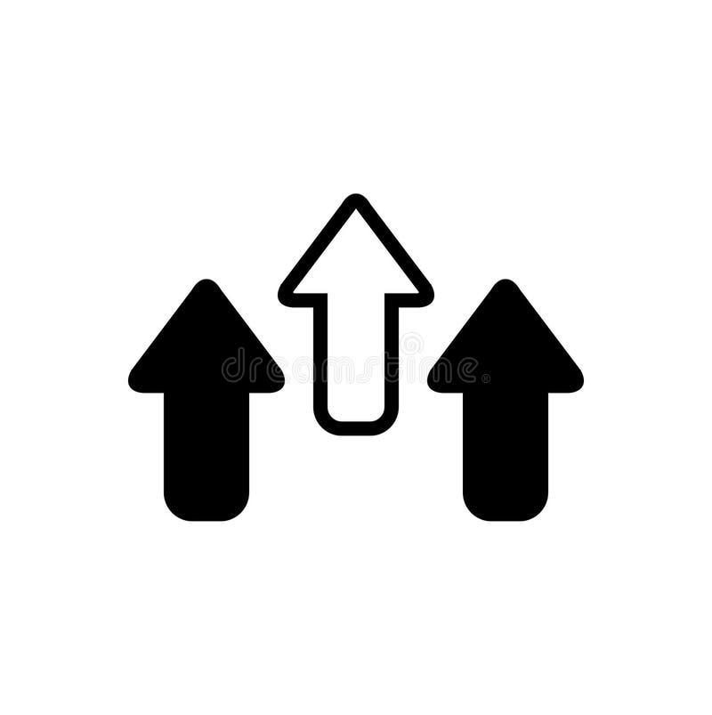 Schwarze feste Ikone f?r Pfeil, wachsen und Richtung stock abbildung