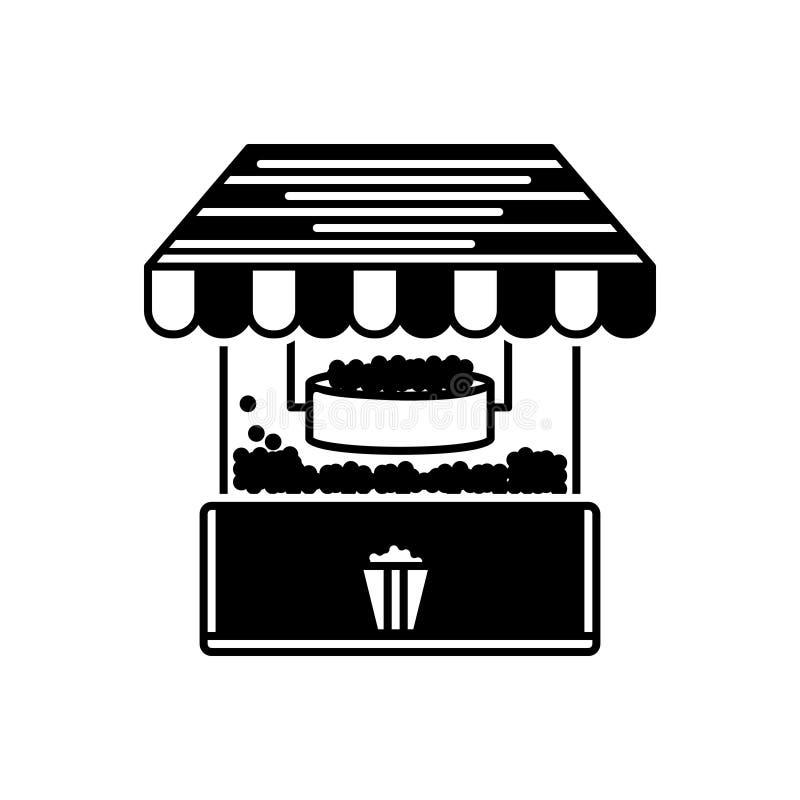 Schwarze feste Ikone für Popcorn, Maschine und Hersteller stock abbildung
