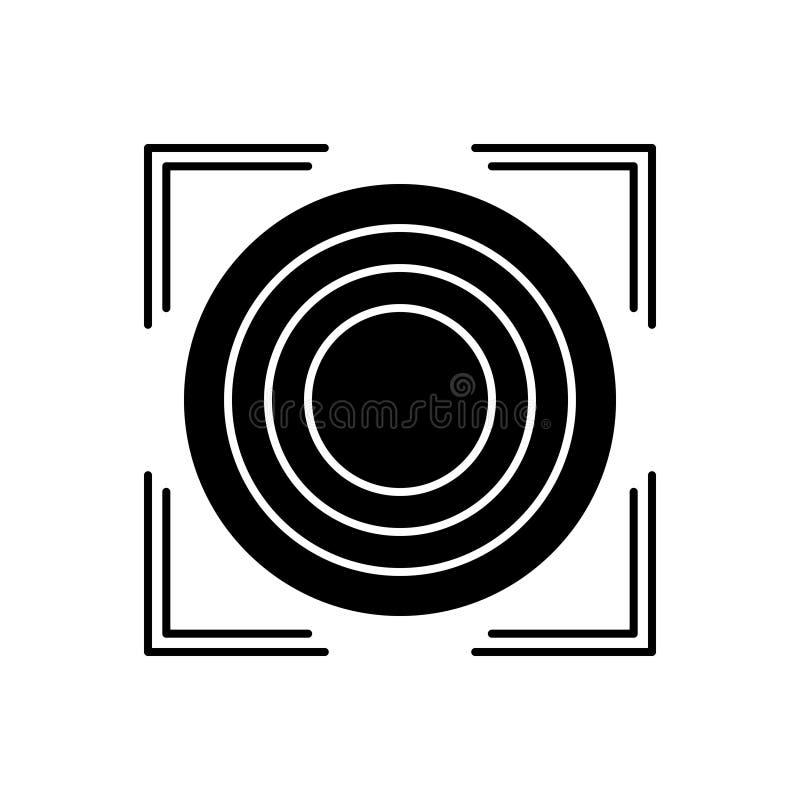 Schwarze feste Ikone für Präzision, Reinheit und Genauigkeit stock abbildung