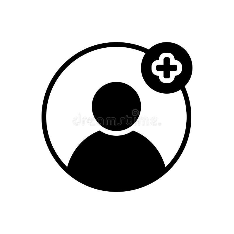 Schwarze feste Ikone für Profil, Mitgliedschaft und werden stock abbildung
