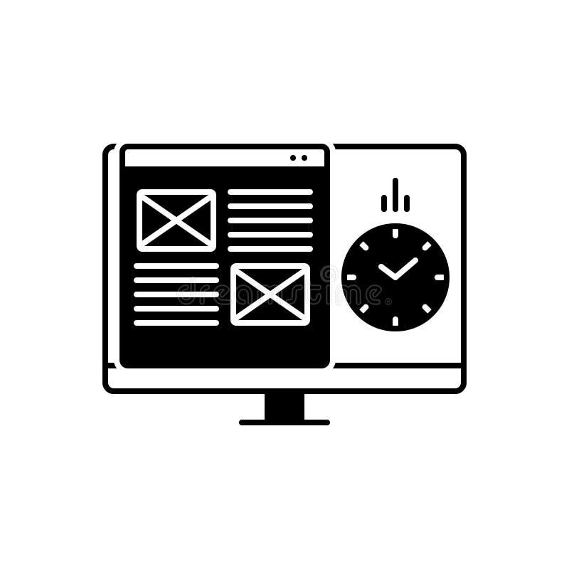 Schwarze feste Ikone für Projekt, Management und Planung vektor abbildung