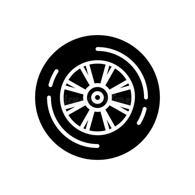 Schwarze feste Ikone für Rad, Fahrzeug und Gummi lizenzfreie abbildung