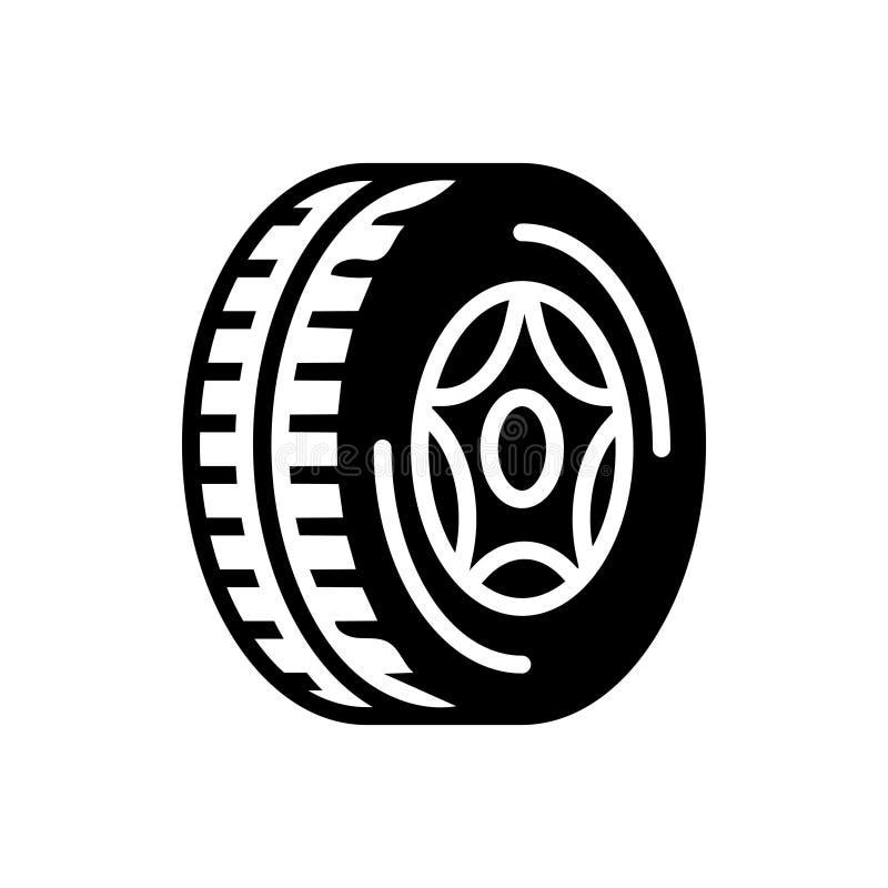 Schwarze feste Ikone für Reifen, Rad und Automobil stock abbildung