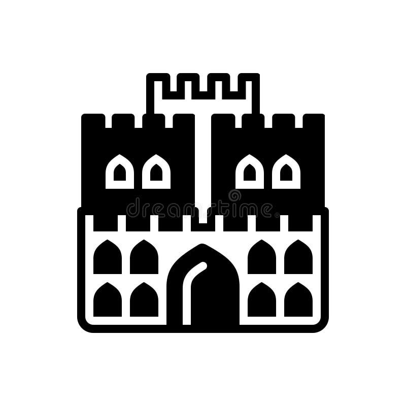Schwarze feste Ikone für Schloss, Fort und Königreich vektor abbildung