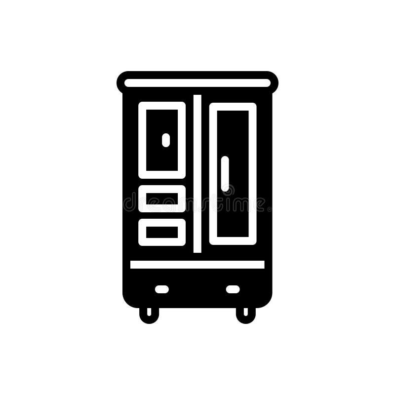 Schwarze feste Ikone f?r Schrank, Kabinett und Wandschrank stock abbildung