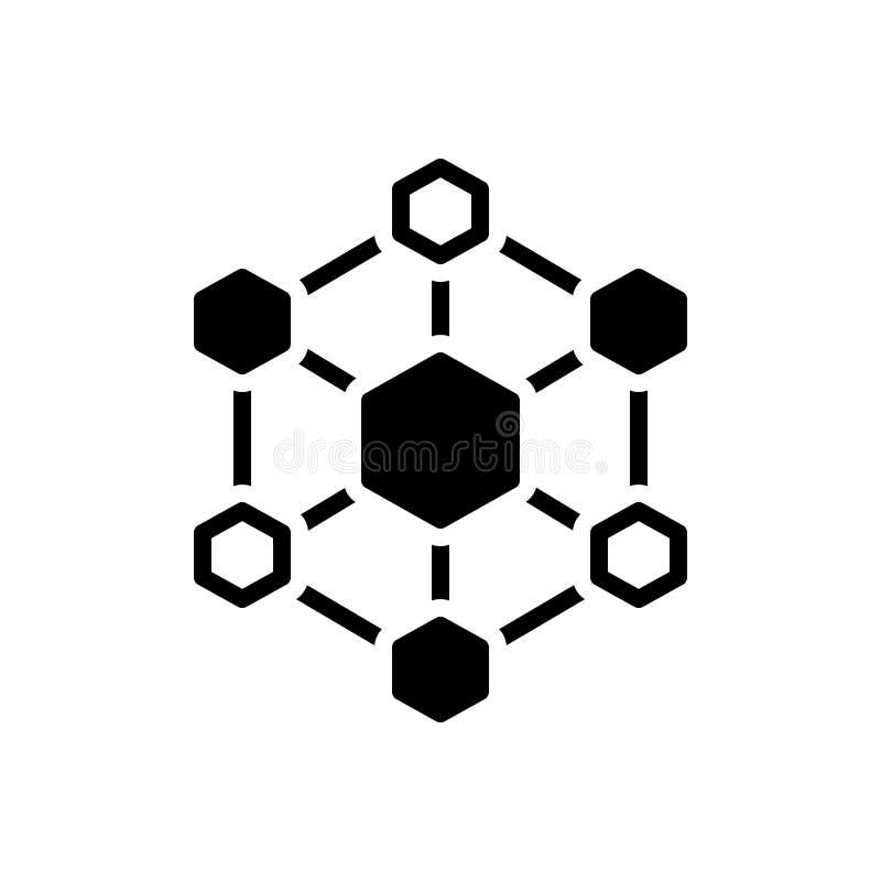 Schwarze feste Ikone für sechseckige Verbindungen, Verbindungen und Architektur stock abbildung