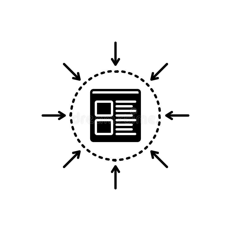 Schwarze feste Ikone für Spezifikation, Management und Monochrom lizenzfreie abbildung