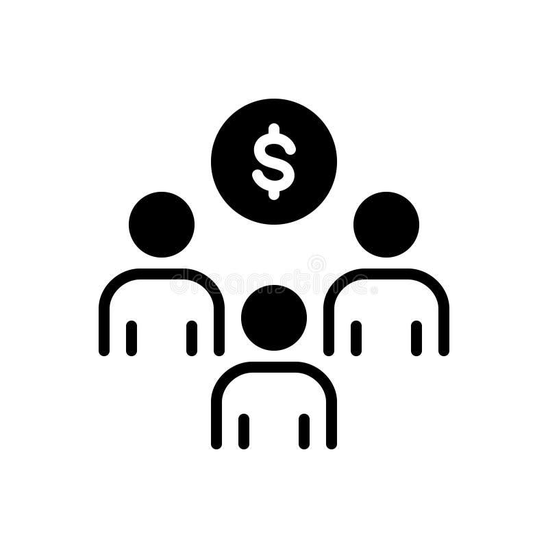 Schwarze feste Ikone für Sponsor- Investition, Förderung und strategisches vektor abbildung