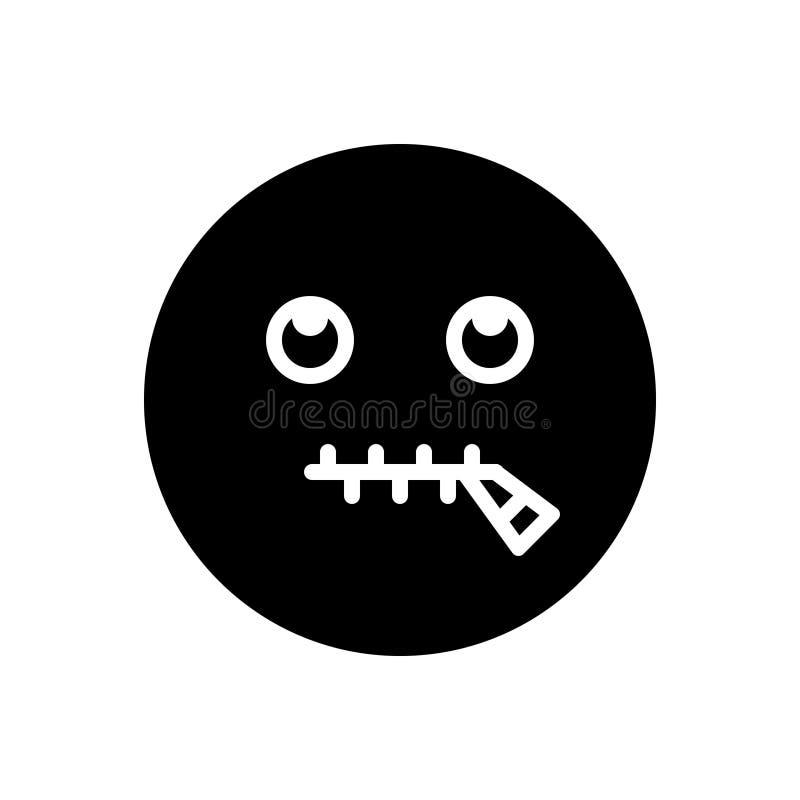 Schwarze feste Ikone für sprachloses, Zunge und stummes lizenzfreie abbildung