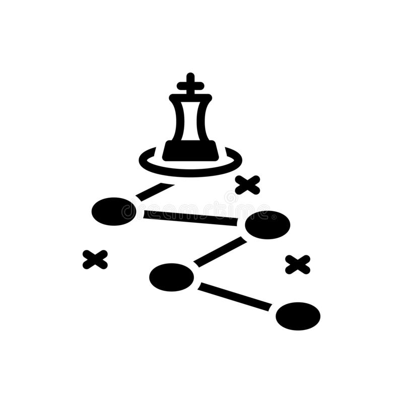 Schwarze feste Ikone für Strategie, Planung und Management lizenzfreie abbildung