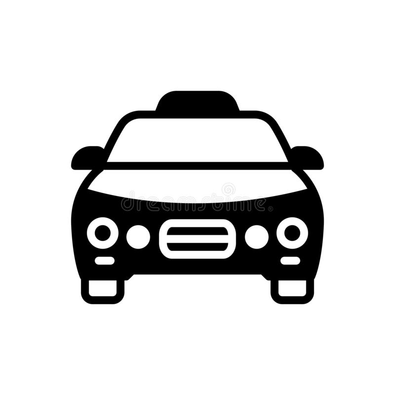 Schwarze feste Ikone für Taxi, Fahrerhaus und Automobil lizenzfreie abbildung