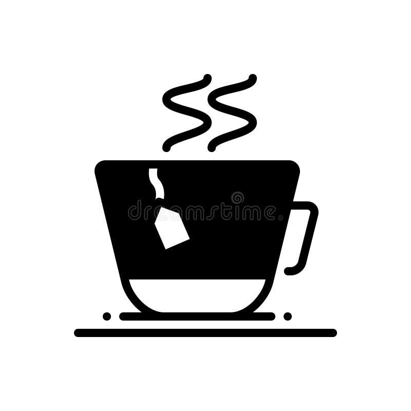 Schwarze feste Ikone f?r Teebeutel, Schale, Nahrung und Erfrischung lizenzfreie abbildung