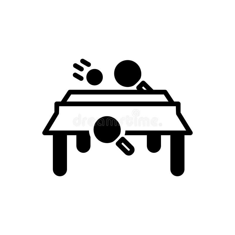 Schwarze feste Ikone f?r Tischtennis, Spiel und Klingeln lizenzfreie abbildung