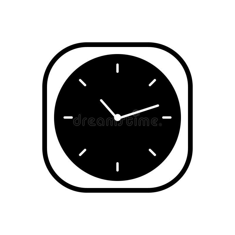 Schwarze feste Ikone f?r Uhr, Zeit und Armbanduhr lizenzfreie abbildung